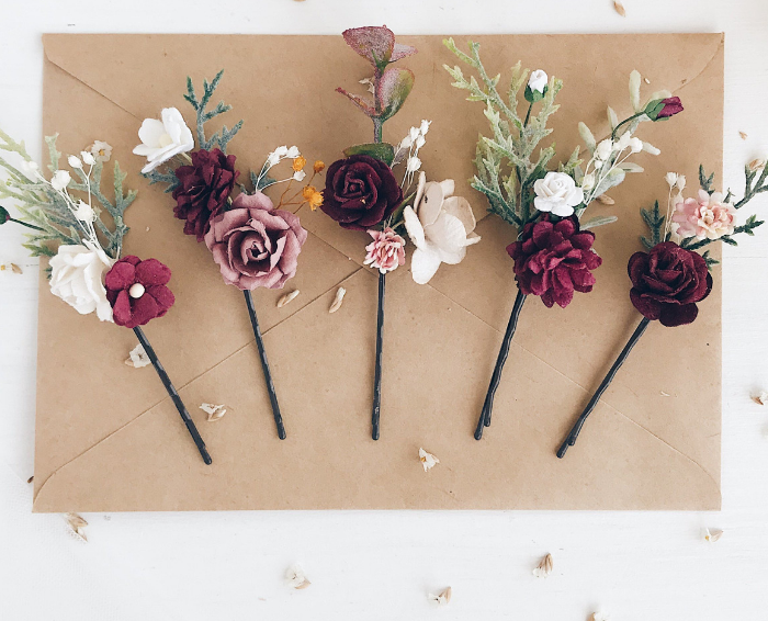 hair accessory Fall Maroon FlowerBobby pins