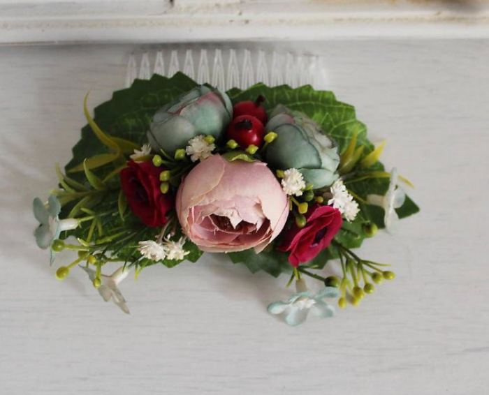 hair accessory Hand made Floral romantic hair comb