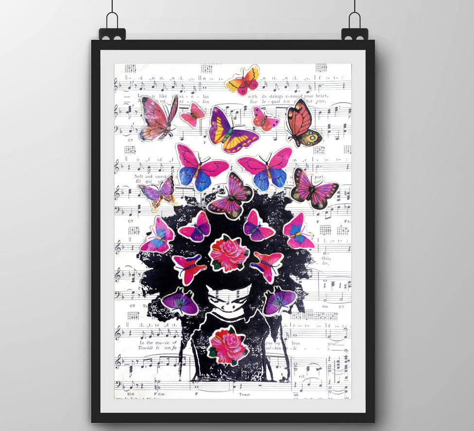 natural hair gifts, Afro Butterfly Art Print