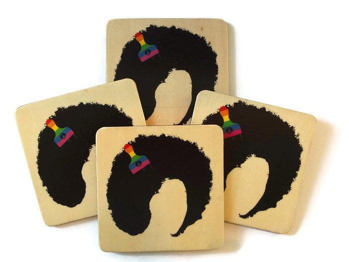 natural hair gifts, Afro Hair Coasters