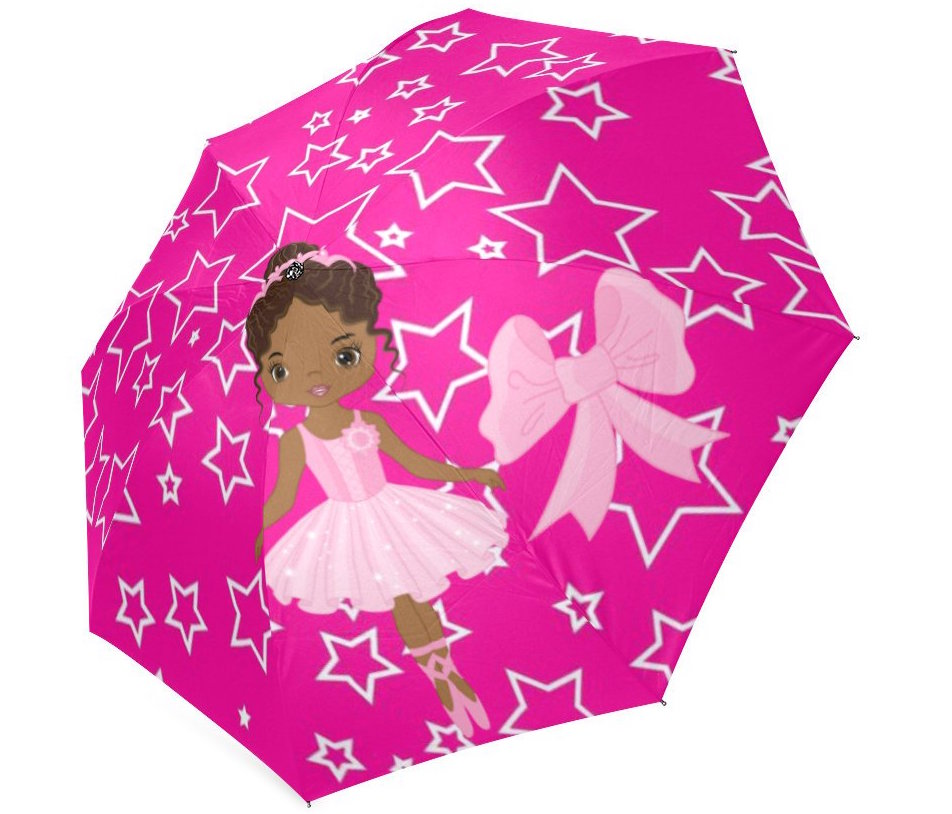 natural hair gifts for christmas, Girls Pink Foldable Umbrella