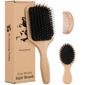 Boar Bristle Hair Brush Gift Set