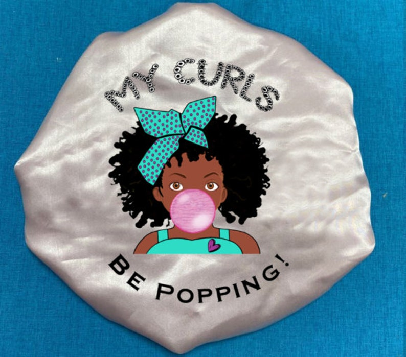 Natural Hair Girl Satin Hair Bonnet